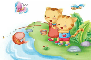 小猫和小狗钓鱼